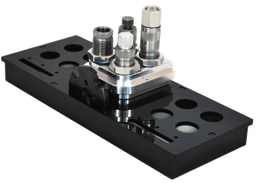 Dillon 550 toolhead storage tray with toolhead and shell plate